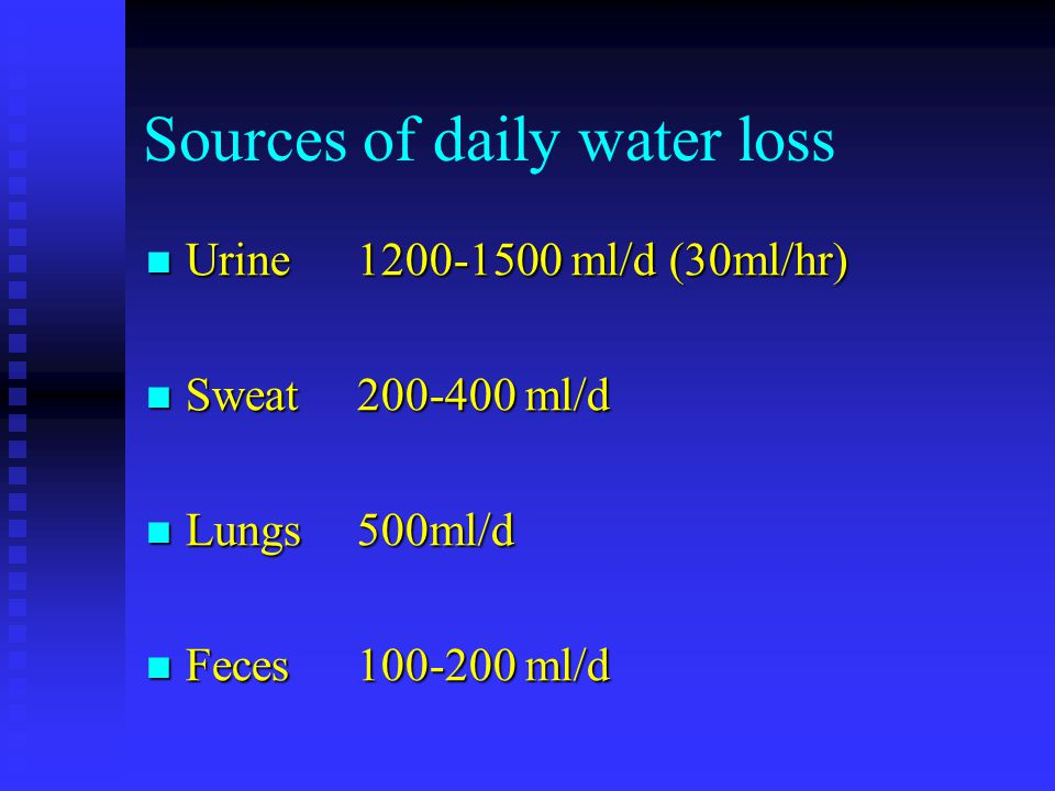 Sources of daily water loss