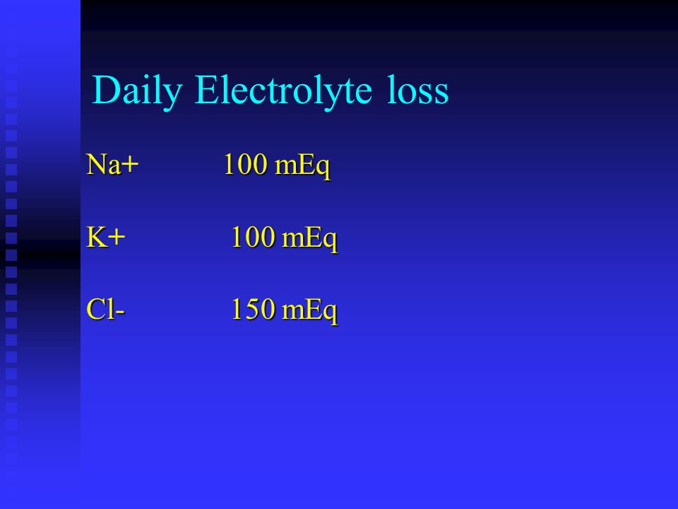 Daily Electrolyte loss