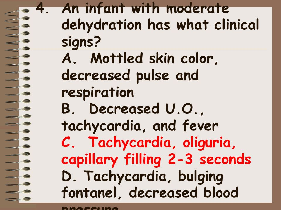 An infant with moderate dehydration has what clinical signs. A