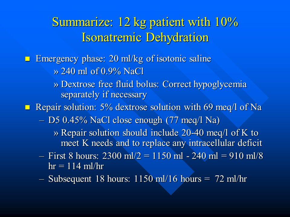 Summarize: 12 kg patient with 10% Isonatremic Dehydration