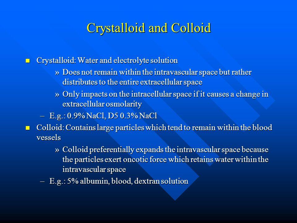 Crystalloid and Colloid
