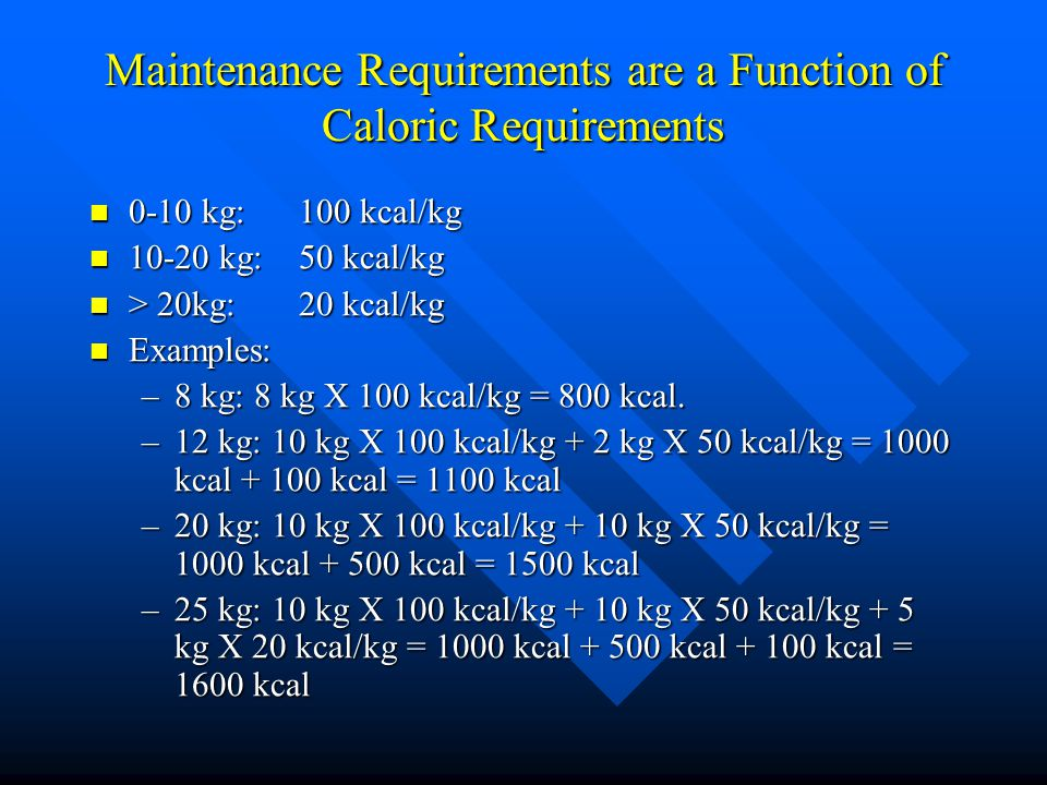 Maintenance Requirements are a Function of Caloric Requirements