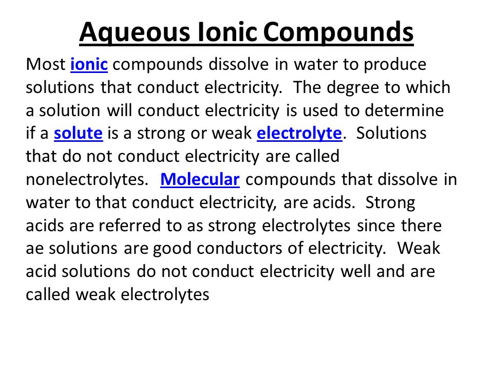 Aqueous Ionic Compounds