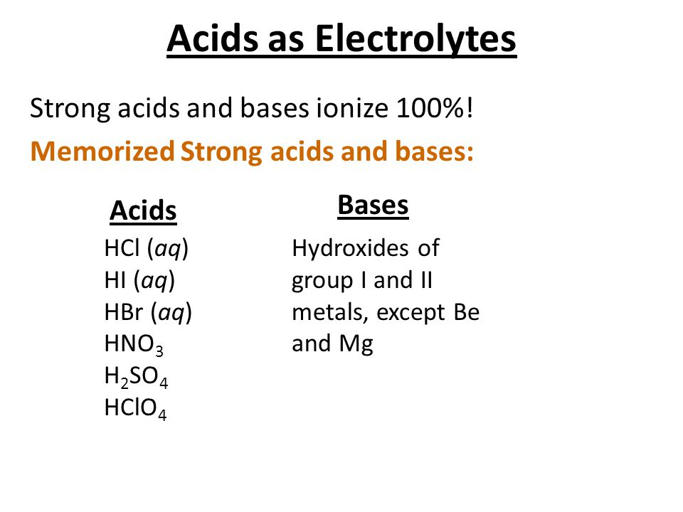 Acids as Electrolytes Strong acids and bases ionize 100%! Memorized Strong acids and bases: Bases.