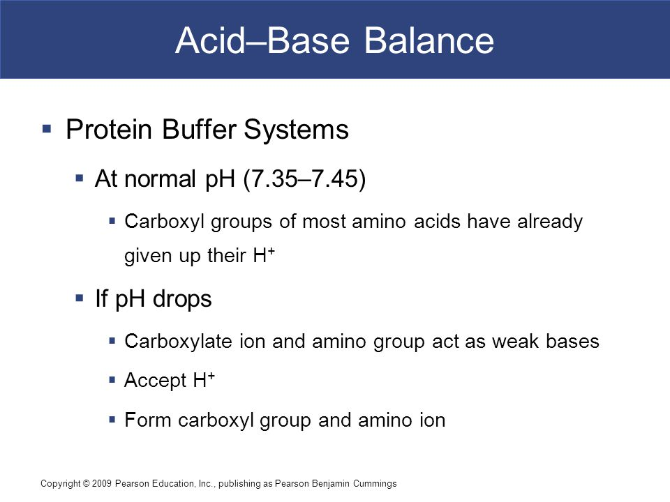 Acid–Base Balance Protein Buffer Systems At normal pH (7.35–7.45)