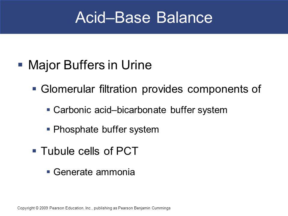 Acid–Base Balance Major Buffers in Urine