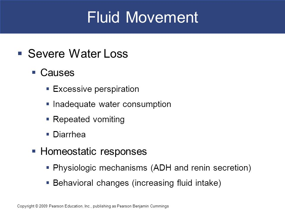 Fluid Movement Severe Water Loss Causes Homeostatic responses
