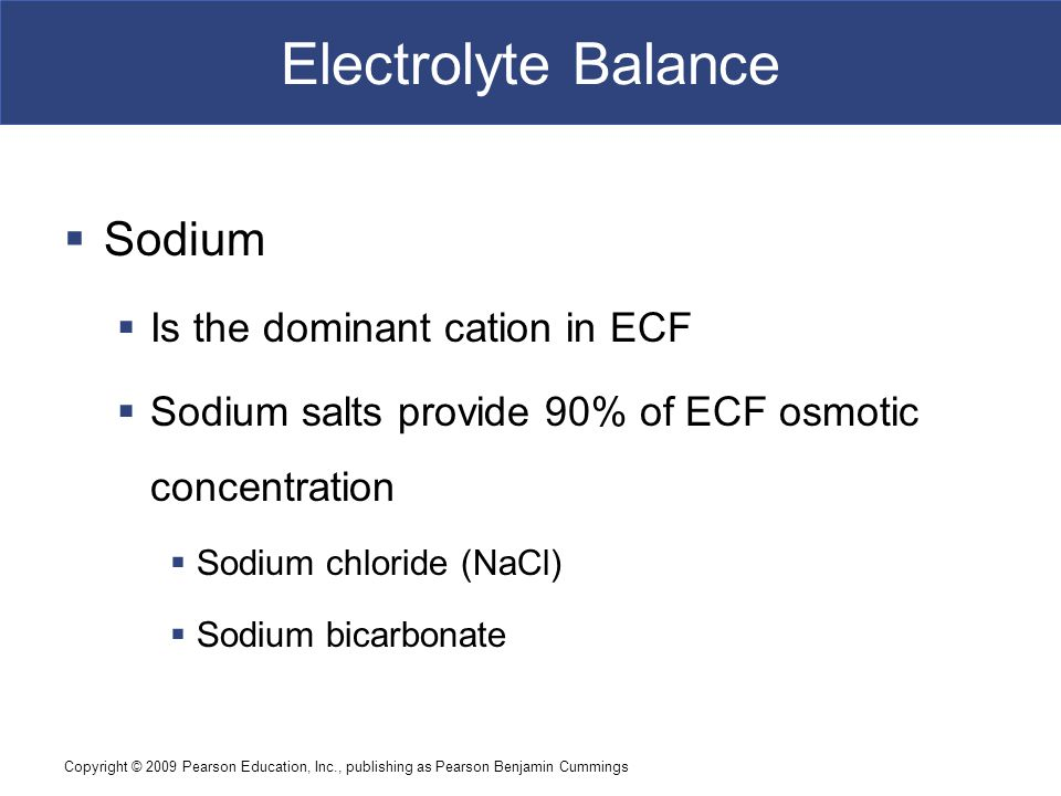 Electrolyte Balance Sodium Is the dominant cation in ECF