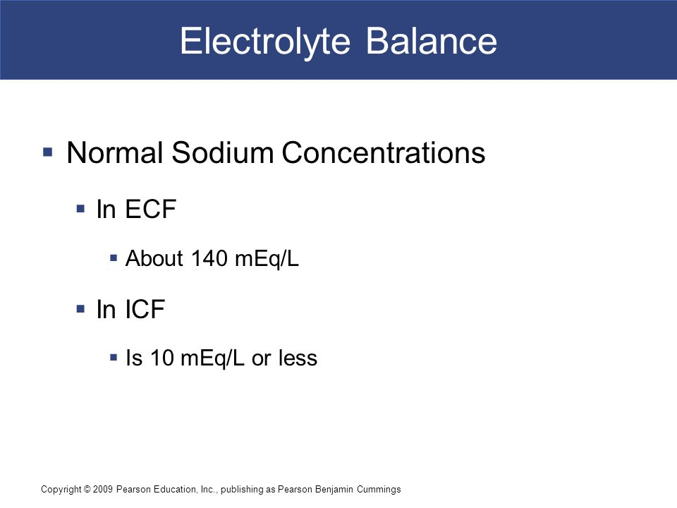 Electrolyte Balance Normal Sodium Concentrations In ECF In ICF