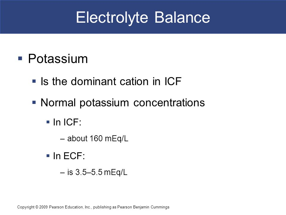 Electrolyte Balance Potassium Is the dominant cation in ICF