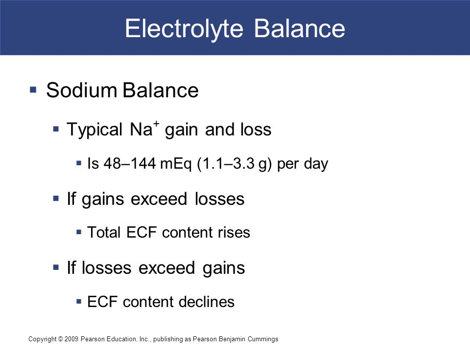 Electrolyte Balance Sodium Balance Typical Na+ gain and loss