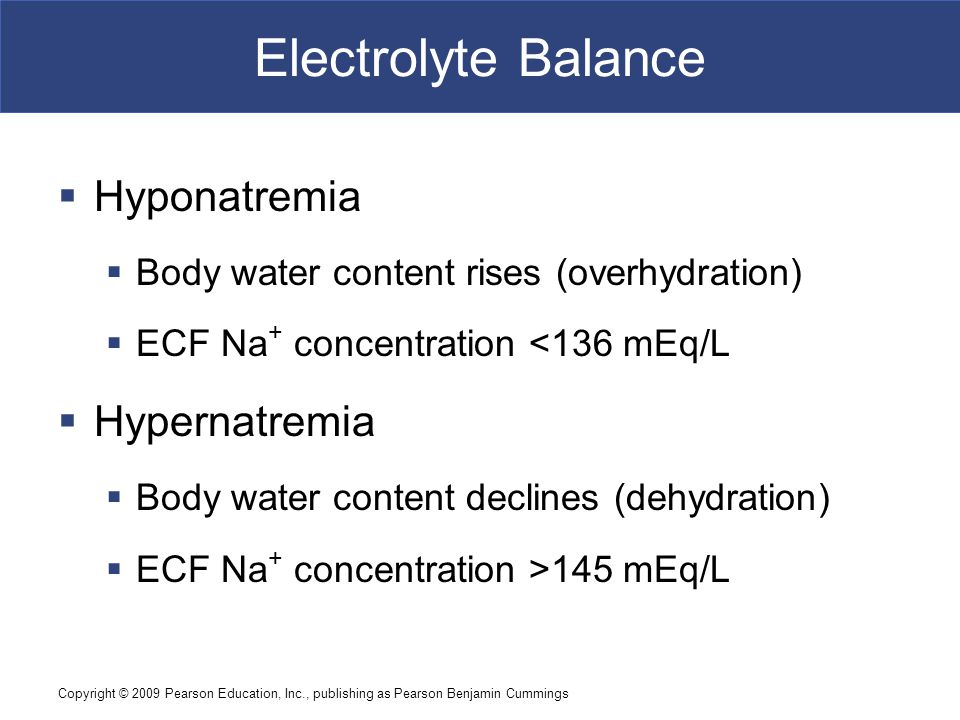 Electrolyte Balance Hyponatremia Hypernatremia
