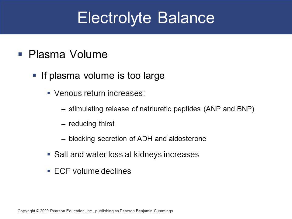 Electrolyte Balance Plasma Volume If plasma volume is too large