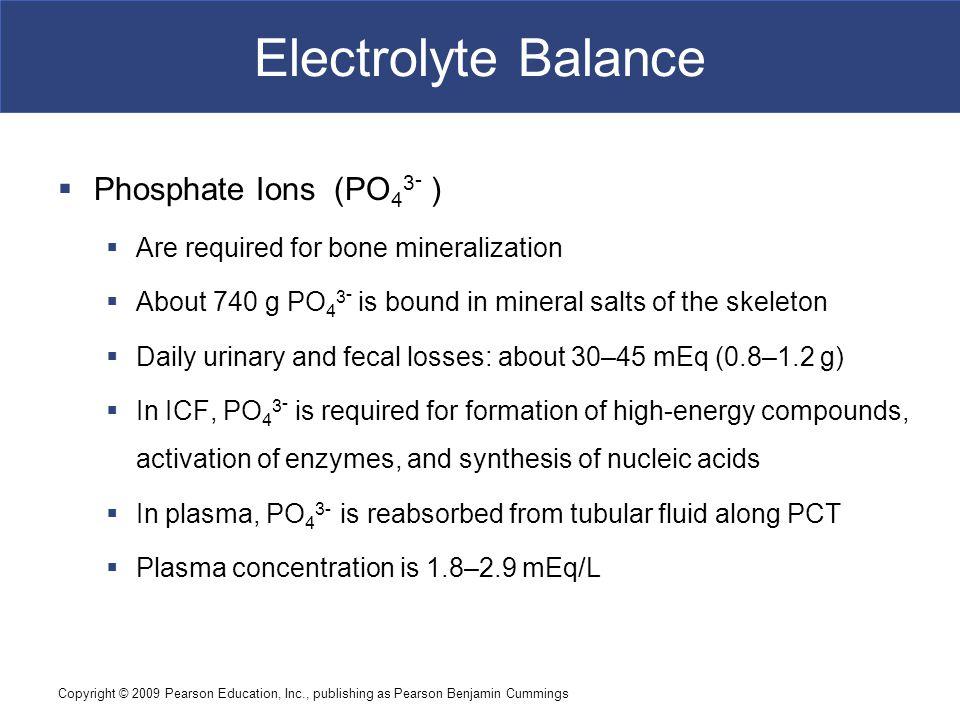 Electrolyte Balance Phosphate Ions (PO43- )
