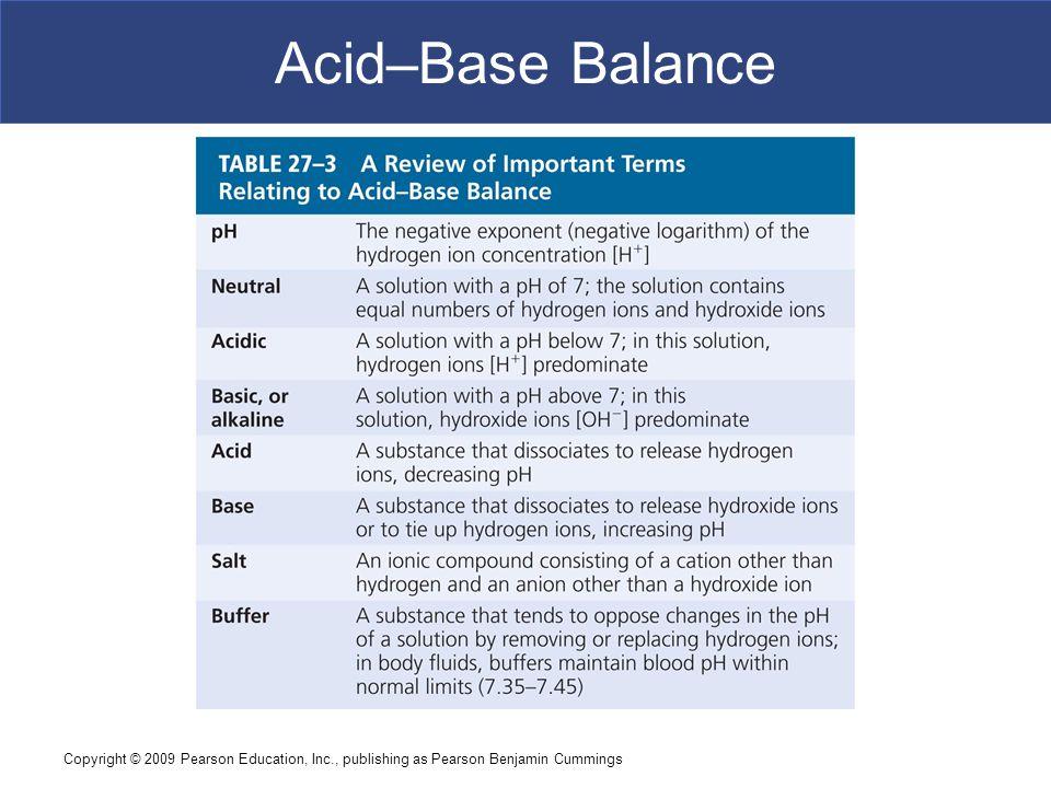 Acid–Base Balance Copyright © 2009 Pearson Education, Inc., publishing as Pearson Benjamin Cummings