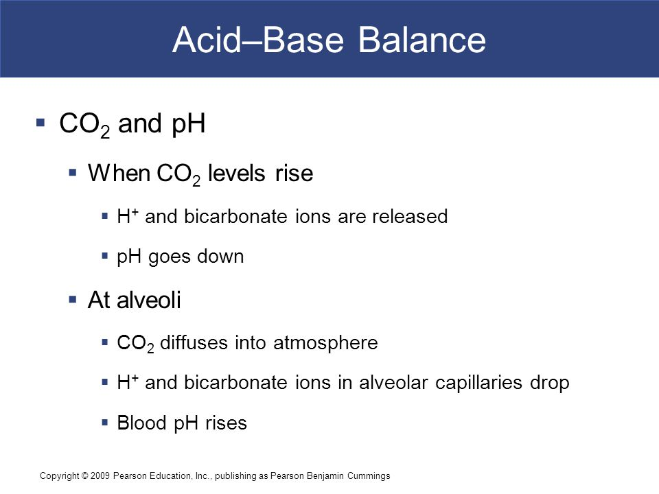 Acid–Base Balance CO2 and pH When CO2 levels rise At alveoli