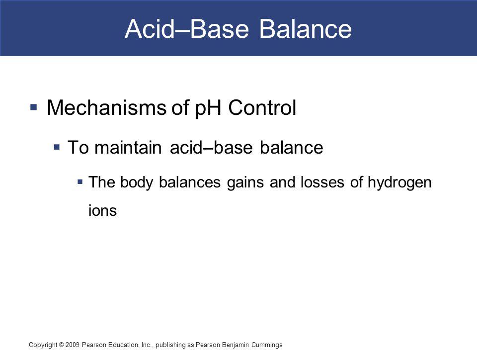 Acid–Base Balance Mechanisms of pH Control
