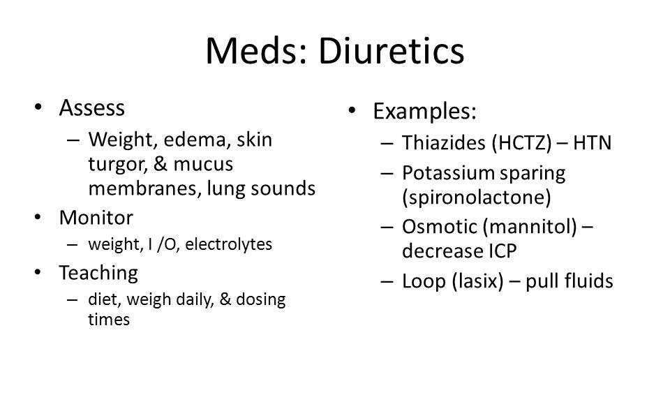 Meds: Diuretics Assess Examples:
