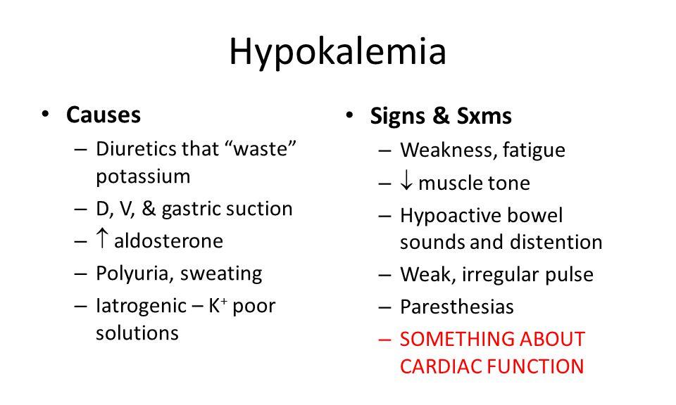 Hypokalemia Causes Signs & Sxms Diuretics that waste potassium