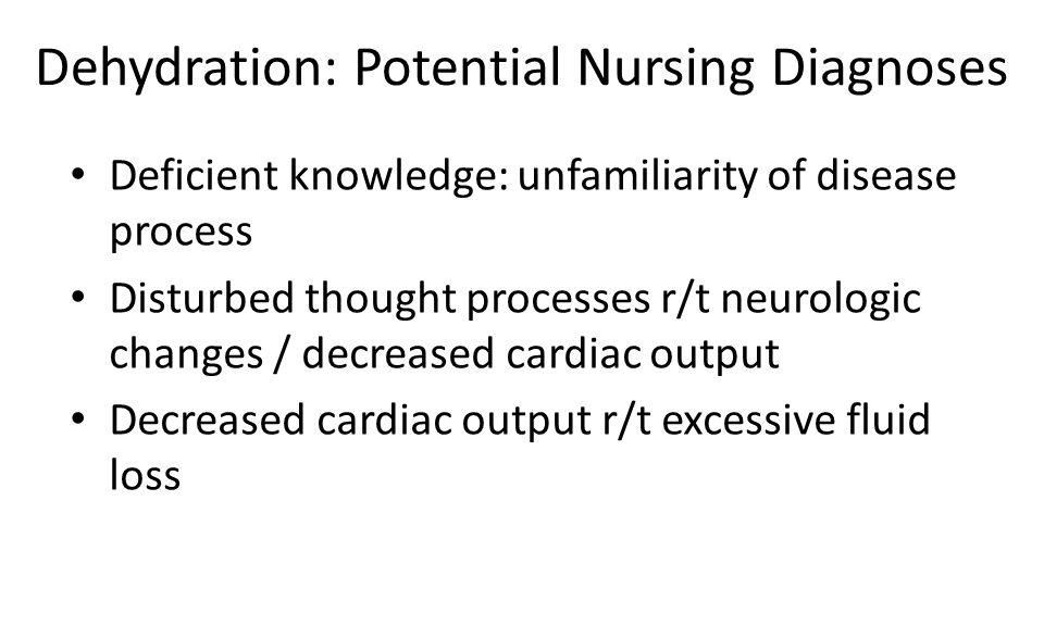 Dehydration: Potential Nursing Diagnoses