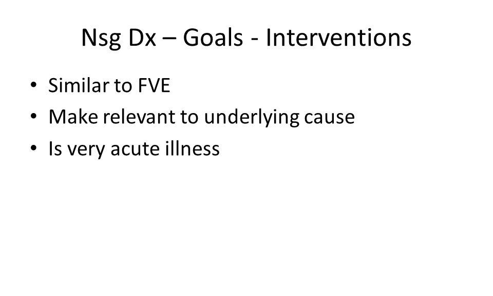 Nsg Dx – Goals - Interventions