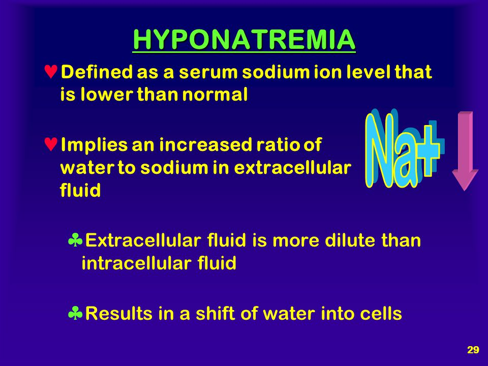 HYPONATREMIA Defined as a serum sodium ion level that is lower than normal. Implies an increased ratio of water to sodium in extracellular fluid.