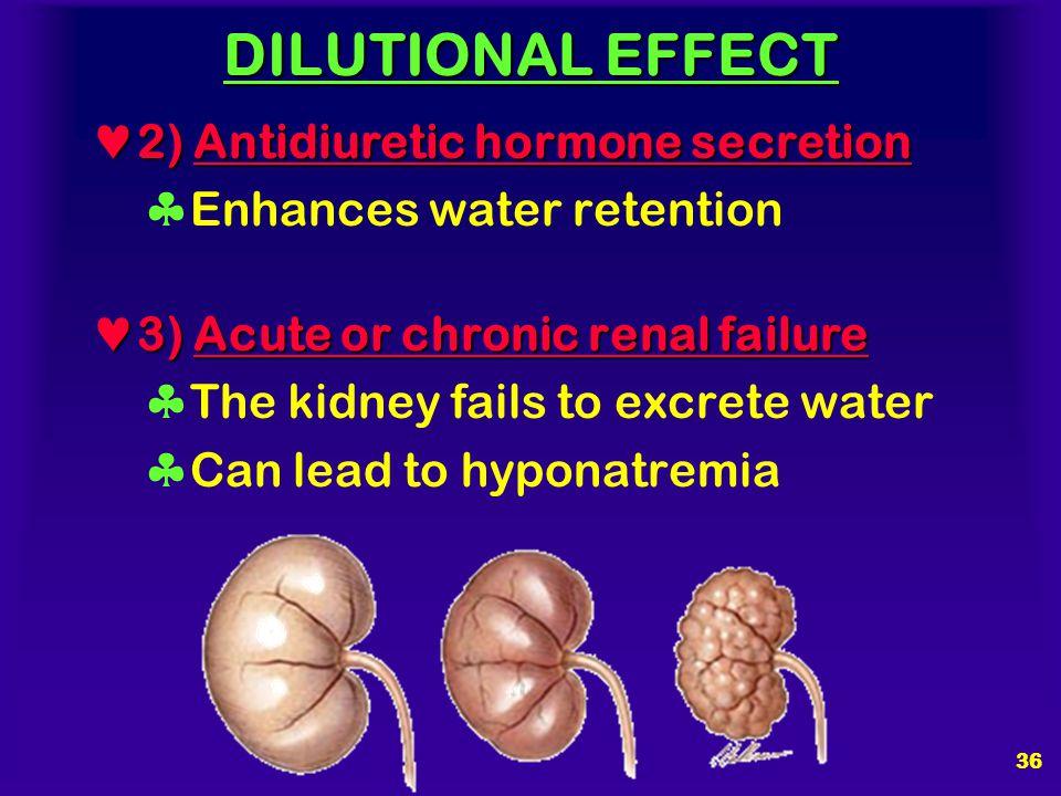 DILUTIONAL EFFECT 2) Antidiuretic hormone secretion