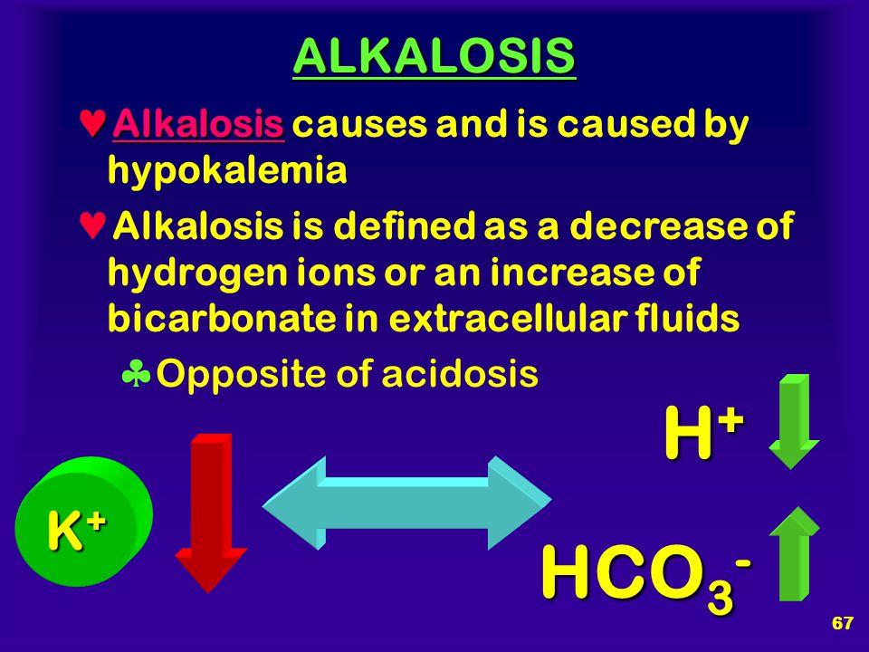 H+ HCO3- K+ ALKALOSIS Alkalosis causes and is caused by hypokalemia