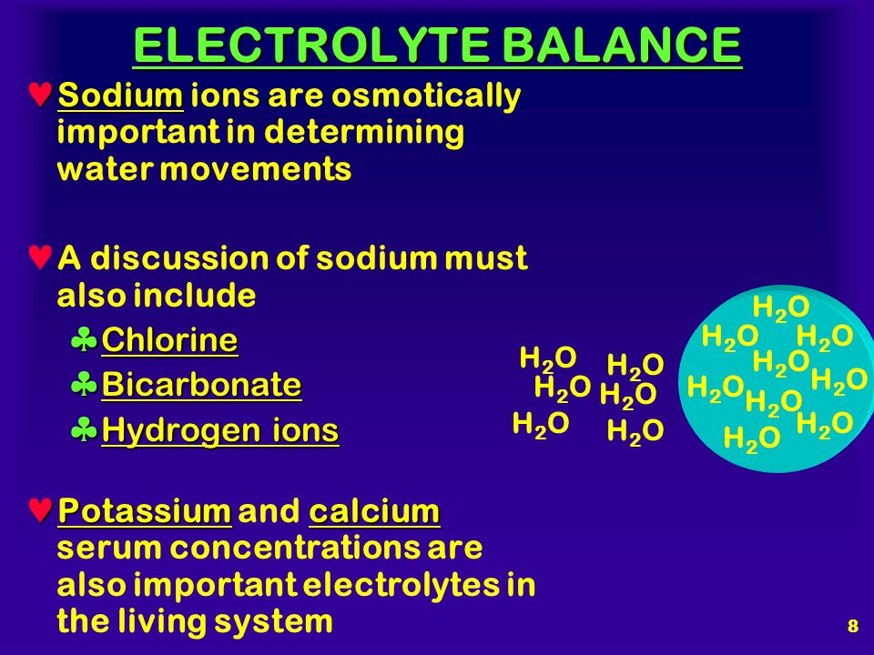 ELECTROLYTE BALANCE Sodium ions are osmotically important in determining water movements. A discussion of sodium must also include.