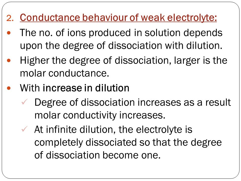 Conductance behaviour of weak electrolyte: