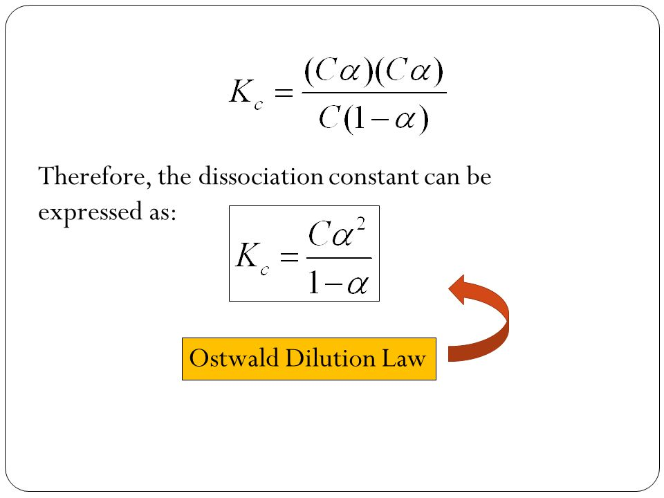 Therefore, the dissociation constant can be expressed as: