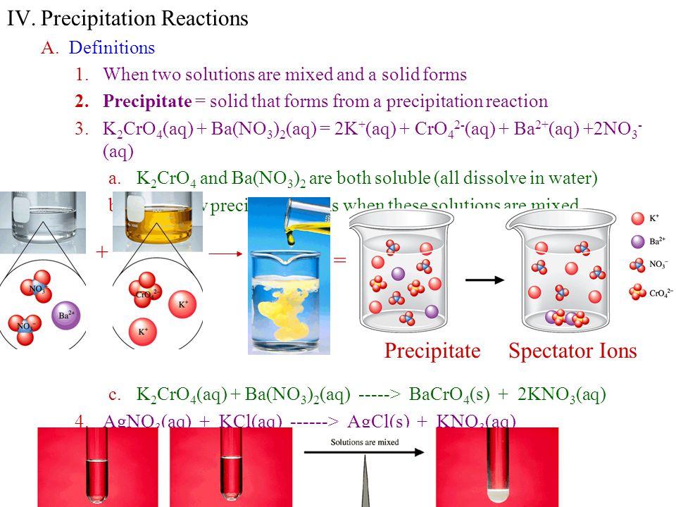 IV. Precipitation Reactions
