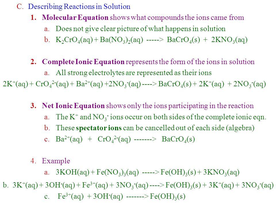 Describing Reactions in Solution