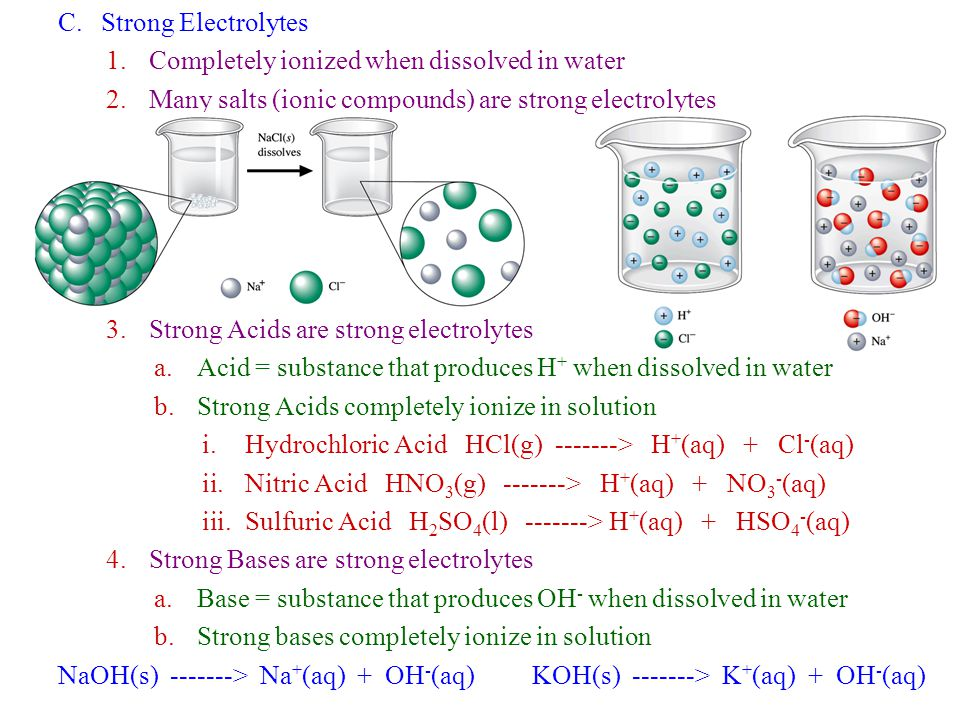 C. Strong Electrolytes Completely ionized when dissolved in water. Many salts (ionic compounds) are strong electrolytes.