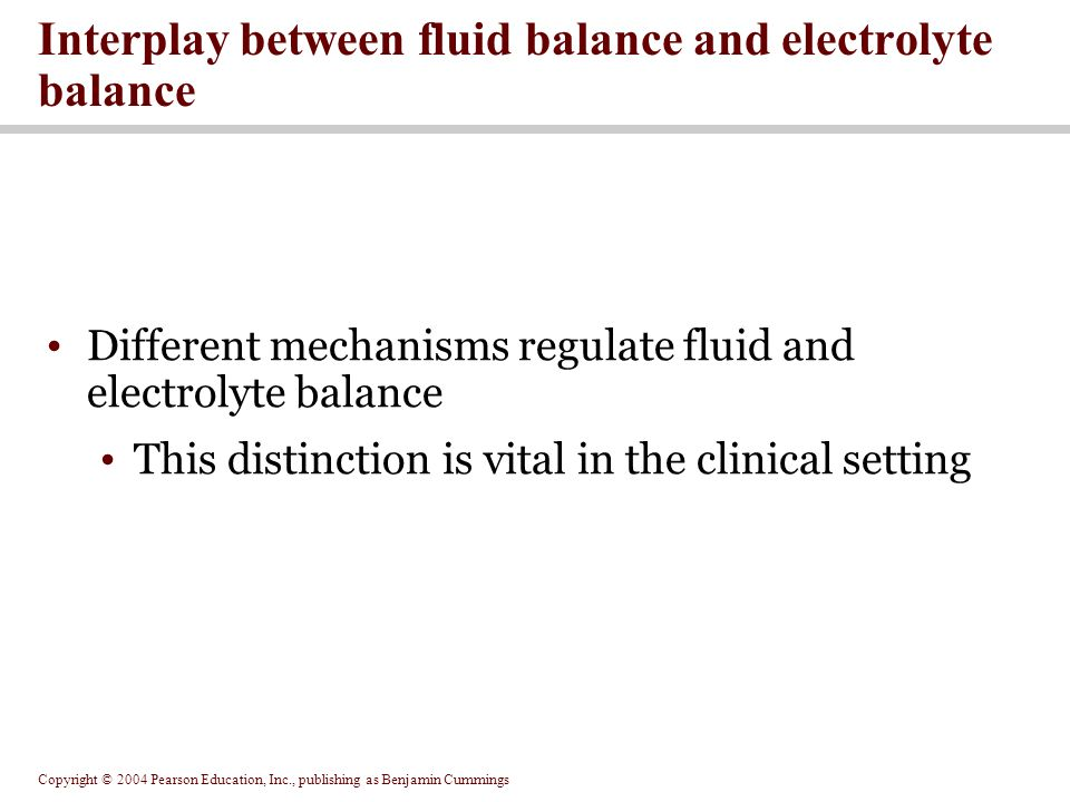 Interplay between fluid balance and electrolyte balance