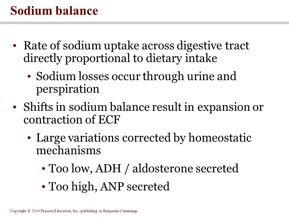 Sodium balance Rate of sodium uptake across digestive tract directly proportional to dietary intake.