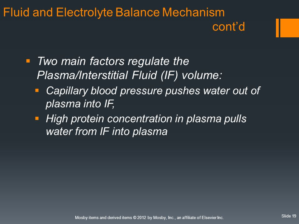 Fluid and Electrolyte Balance Mechanism cont'd