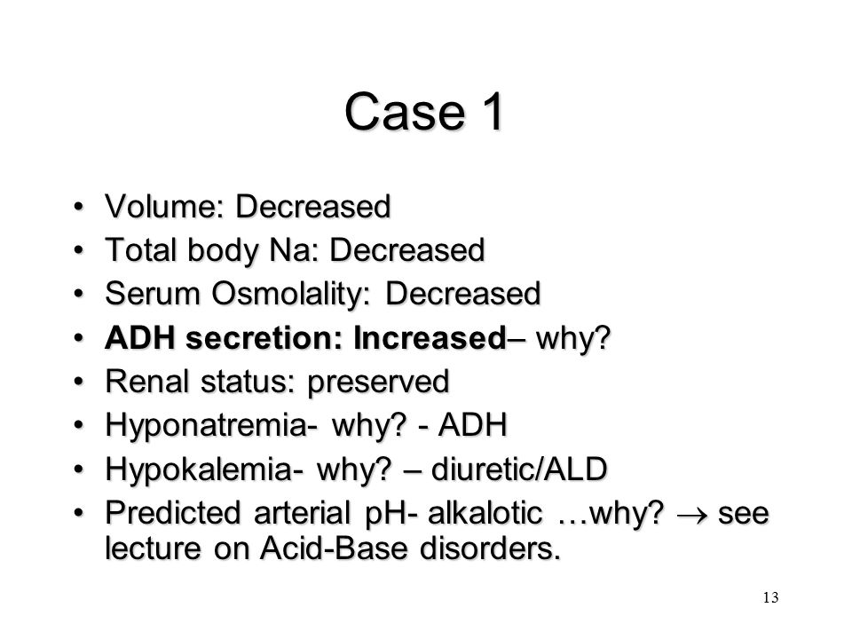 Case 1 Volume: Decreased Total body Na: Decreased