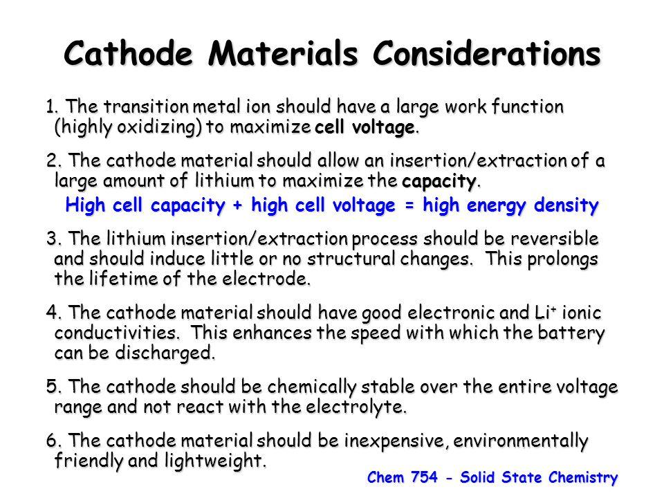 Cathode Materials Considerations