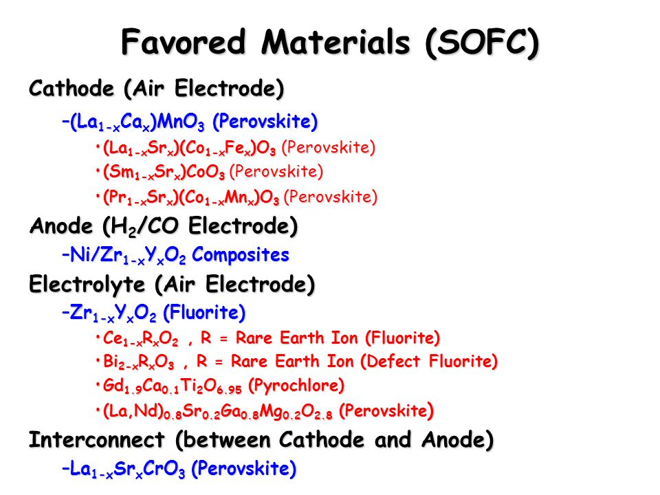Favored Materials (SOFC)