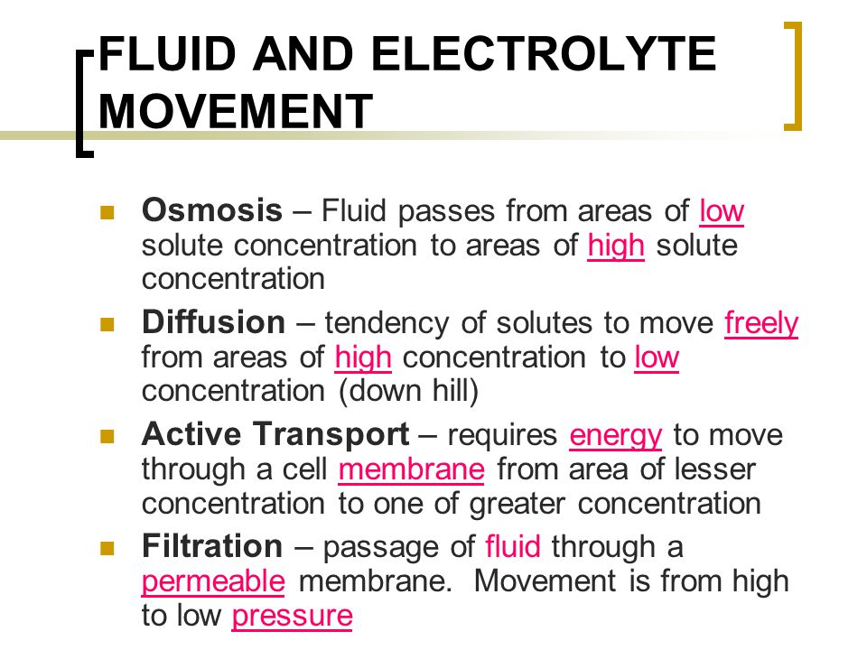 FLUID AND ELECTROLYTE MOVEMENT