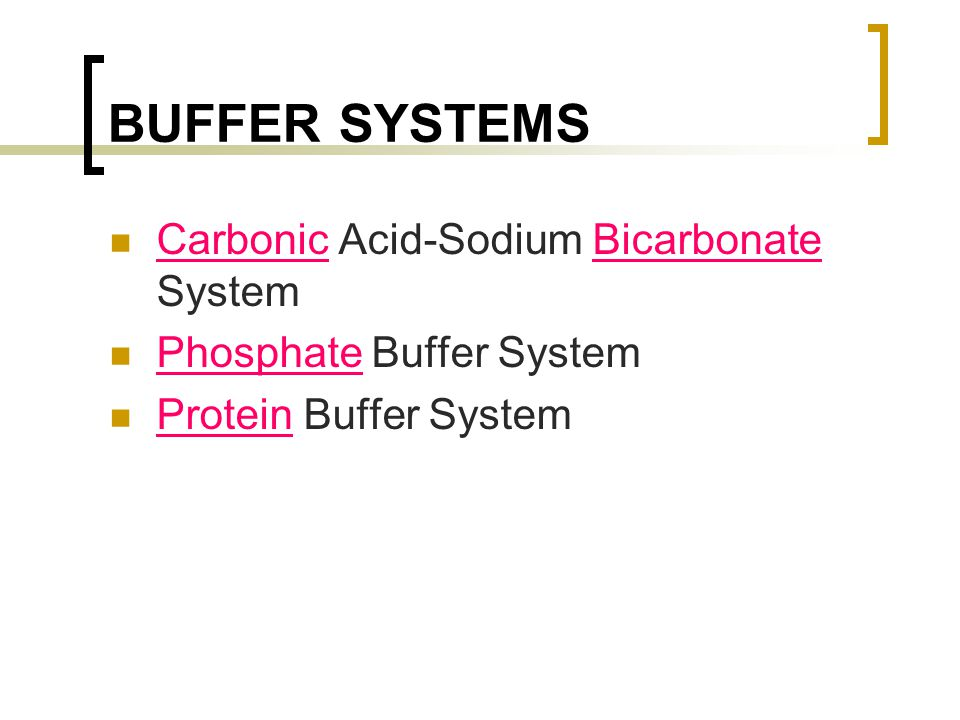 BUFFER SYSTEMS Carbonic Acid-Sodium Bicarbonate System
