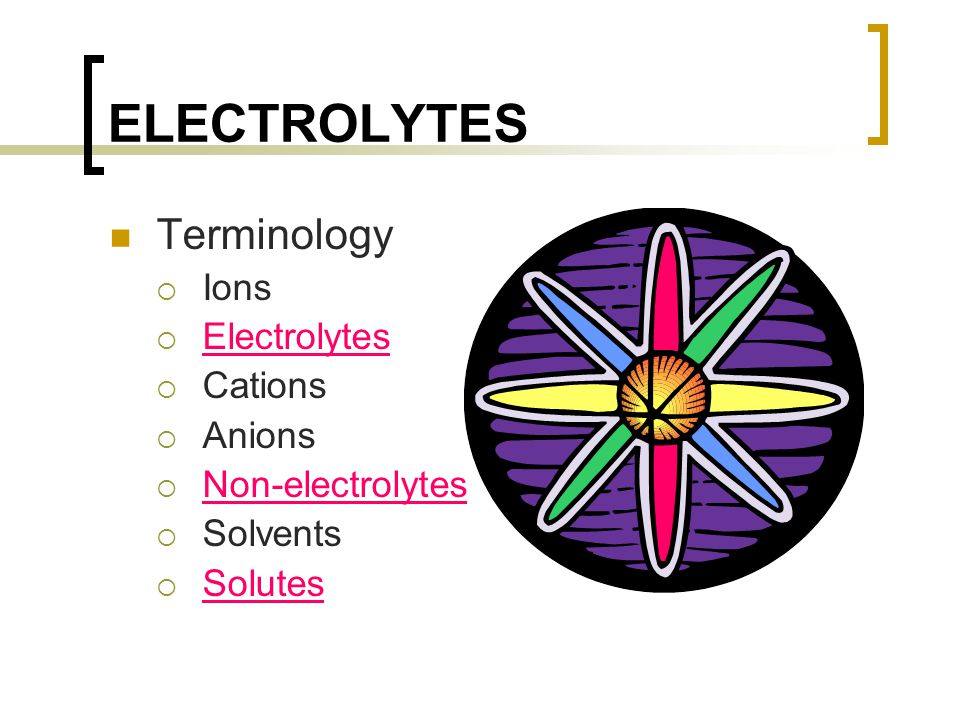 ELECTROLYTES Terminology Ions Electrolytes Cations Anions