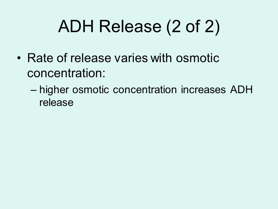 ADH Release (2 of 2) Rate of release varies with osmotic concentration: higher osmotic concentration increases ADH release.