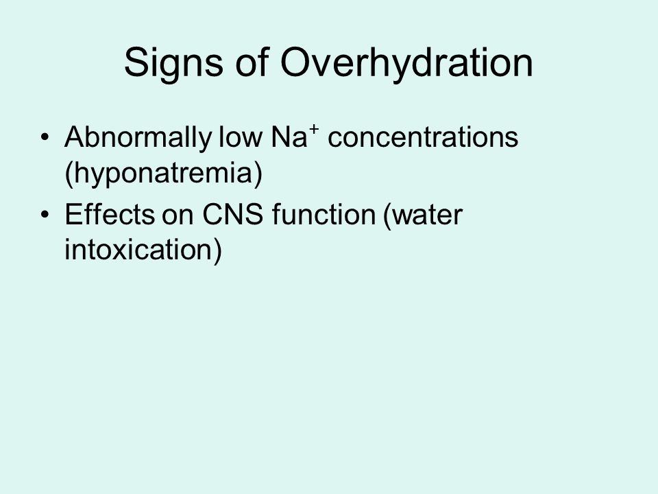 Signs of Overhydration