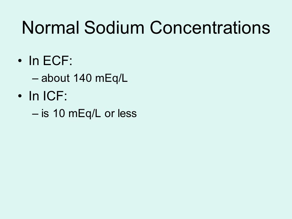Normal Sodium Concentrations