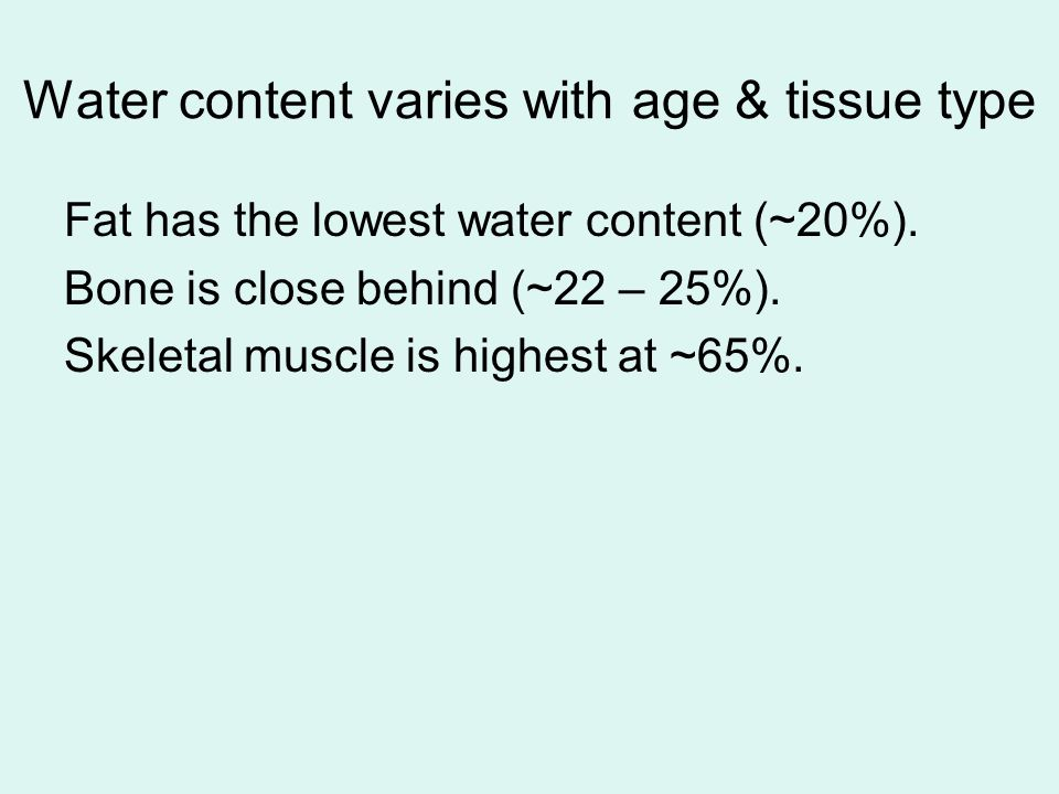Water content varies with age & tissue type