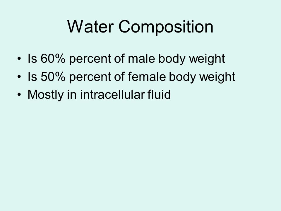 Water Composition Is 60% percent of male body weight