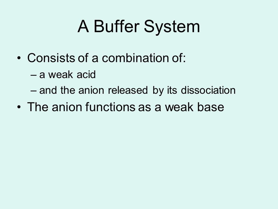 A Buffer System Consists of a combination of: