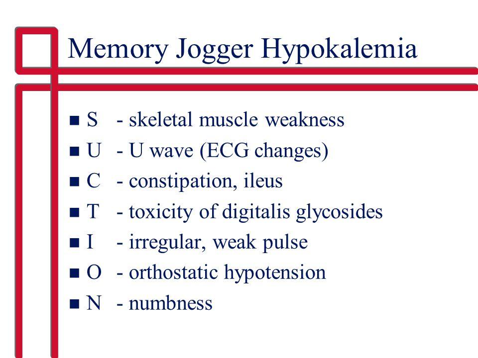 Memory Jogger Hypokalemia